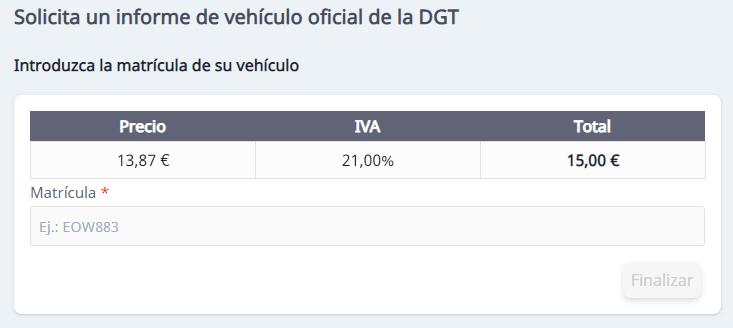 realizar la solicitud de un informe vehiculo dgt online