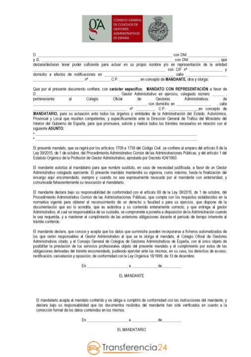 mandato gestoria transferncia24